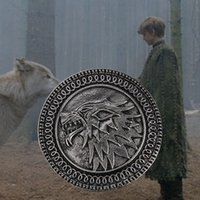 Wholesale Antiques Free Shipping - Game Of Thrones Stark Brooch Song Of Ice And Fire Vintage Antique Silver Wolf Shield Pin For Men And Women Wholesale Free Ship