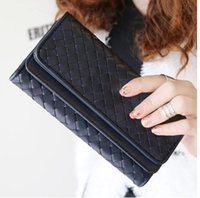 Wholesale Double Fold Wallet - Brand new arrival lovers double-deck renovate three-folded long design women's wallet purse plaid day clutch free shipping