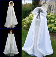 Wholesale Grey Fur Bolero - Romatic 2015 Hooded Bridal Cape Ivory White Long Wedding Cloaks Faux Fur With Satin For Winter Wedding Bridal Wraps Bolero