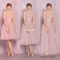 Wholesale Tea Length Pleated Skirt - Cheap Mismatched Pink 2017 A line Bridesmaid Dresses V Neckline Sleeveless Zipper Empire Tulle Tiered Skirts Tea Length Wedding Guest Dress