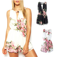 Wholesale Open Back Rompers - New 2014 Women Flower Printed Rompers Short Jumpsuit Summer Open Back female Sexy Chiffon Overalls Playsuits b4 SV007467