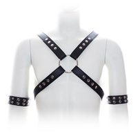 Wholesale Harness Rivets - 2015 Free Shipping Sex Bondage Harnesses Open Boobs Rivet Training Corset with Chastity Belt Fetish Wear men fantasy