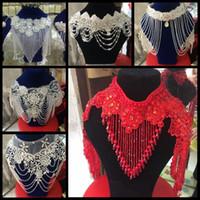 Wholesale Jewelry Wraps Shoulder Crystal - 2016 New Luxurious Crystal Rhinestone Jewelry Bridal Wraps White Lace Wedding Shawl Jacket Shoulder Chain Wedding Decoration