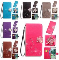 Barato Caso Diamante Xperia-Bling Diamond Clover Flower Flip Wallet Estojo em couro para Huawei Mate10 Mate 10 Sony Xperia XZ1 Compact MINI Strap Fashion Stand Cover 1pcs