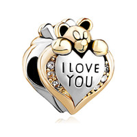 Wholesale love heart bracelet cheap - Metal Slider Spacer Large Hole Wholesale Cheap I Love You Bear European Bead Fit Pandora Chamilia Biagi Charm Bracelet