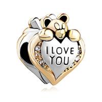 ich liebe bären großhandel-Metall Slider Spacer großes Loch Großhandel billig ich liebe dich tragen europäischen Bead Fit Pandora Chamilia Biagi Bettelarmband