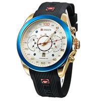 Wholesale curren black stainless steel sport watches online - New Relogio Masculino CURREN Golden Watches men Luxury Brand Waterproof Sport Military Army Dress quartz Wristwatches