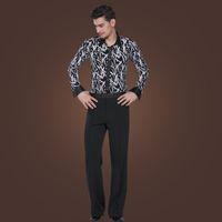Wholesale Latin Man Dance Wear - Stylish Slims Dancing Apparel Long Sleeves Printing Shirt Pants Gentlemen's Latin Dance Tops Trousers Stage Wear tl804