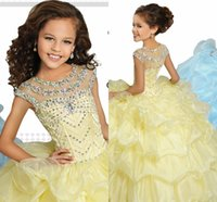 Wholesale Show Girl Evening Dress - High Quality Girls Walk Show Dress Long Blue Yellow Princess Dress Girl Evening Dresses Performance Dress Girl Princess Skirt HY0001