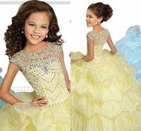 sarı uzun etekler toptan satış-Yüksek Kalite Kızlar Yürüyüşü Göster Elbise Uzun Mavi Sarı Prenses Elbise Kız Abiye Performans Elbise Kız Prenses Etek HY0001
