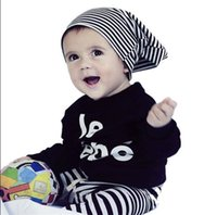 Wholesale rare editions - Boy Suit 2pcs Toddler Baby Boy Kids Long Sleeve T-Shirt Top+Striped Pants Outfit Clothes Baby Suit Rare Editions Piece Outfit Boys Outfits
