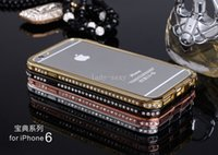 Wholesale Diamond Bumper Iphone 4s - iphone 6 plus case Luxury Crystal Rhinestone Diamond Bling Metal bumper Case Cover For IPhone 6 5 5S 4 4s samsung note 3 s5