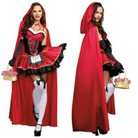 Wholesale Capes Costume Red Riding Hood - Cosplay Sexy Costumes For Women Zentai Cartoon Character Costumes Little Red Riding Hood Costume Cape Adult Uniform O38353