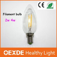 Wholesale White Led 2w Price - Sale DHL fast shipping E14 dimmable 2w 4w e12 110v 220v filament led bulbs Edison Decoration for crystal pendant whole price
