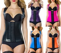 Wholesale Womens Red Vests - Hot Popupar Womens Sport Latex Waist Cincher Vest Shapewear Bustiers Slimming Body Shaper Steel Boned Waist Trainer Corset