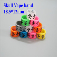 Wholesale Silicon Pattern - 18mm Skull pattern silicon rubber band vape ring for mechanical mods decorative and protection vape mod resistance rubber vape bands