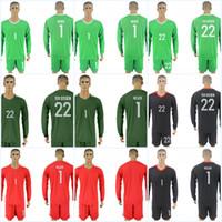 Wholesale Long Sleeve Soccer Jerseys Blank - Mens 18 World Cup Jersey Series Jerseys #22 TER STEGEN #1 NEUER #Blank Long Sleeves Soccer Jerseys All Stitched Free Shipping