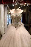 Wholesale Strapless Swarovski Crystals Wedding Gown - Best Selling Luxury Ivory Charming Strapless Ball Gown Fashion Swarovski Crystal Catheral Train Ruffles Wedding Dresses Bridal Dress