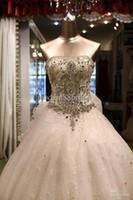 Wholesale Swarovski Luxury Crystals Cathedral Train - Best Selling Luxury Ivory Charming Strapless Ball Gown Fashion Swarovski Crystal Catheral Train Ruffles Wedding Dresses Bridal Dress