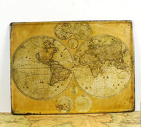 Graphic vinyl paiting art - OLD WORLD MAP paiting Tin Sign Bar pub home Wall Decor Retro Metal Art Poster hm44 ldx