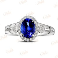 Atacado-1,58ct Natural Violeta Blue Tanzanite Gem Full Cut Anel de diamante 14k Gold Gorgeous