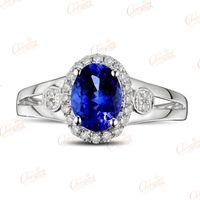 Wholesale Natural Blue Tanzanite - Wholesale-1.58ct Natural Violet Blue Tanzanite Gem Full Cut Diamond Ring 14k Gold Gorgeous