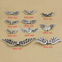 Vente en gros-1 lot d'alliage de zinc Antique Silver Tone Angel Wing Charm Spacers Beads Jewelry Findings
