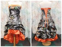 Wholesale Designer High Low - 2017 Camo Wedding Dresses Gothic Knee-length Orange New Designer Strapless A-line Custom Made Plus Size High Low Wedding Dress Bridal Gowns