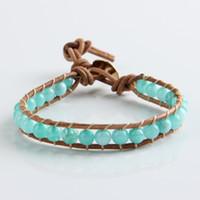 Wholesale Aquamarine European Charm - 2015 European and American trade selling personalized aquamarine fashion bracelet Leather I fire agate bead bracelet jewelry