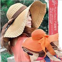 Wholesale Cowboy Hats Ribbon - New Fashion Women Lady Straw Hats Summer Soft Casual Beach Sun Caps With Bowknot Silk Ribbon