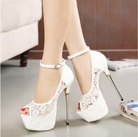 zapatos de boda de 16 cm al por mayor-Zapatos de novia de encaje blanco nupcial zapatos de diseñador de la correa de tobillo 16 CM Sexy Super High Heels zapatos de baile de promoción