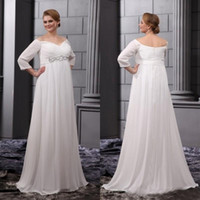 Wholesale Sash Waist Wedding Dress - Plus Size Wedding Dresses 2015 Empire Waist Off Shoulder Bridal Gowns Beach Pregnant Wedding Party Dress Maternity Bridesmaid Ivory Chiffon