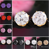 Candy Color 18K Gold 8MM Crystal Earrings For Women Moda New Zircon Cz Shining Studs Brincos Fine Jewelry Preço por atacado Mulheres Earring