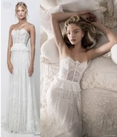 Wholesale Straight Strapless Wedding Dress - romantic bohemian lace wedding dresses 2018 lihi hod bridal strapless straight across neckline full embellishment medium train