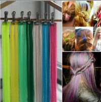 Wholesale Colorful Wigs Wholesale - New Arrival Colorful Fashion Clip Synthetic Straight Hair Decoration Mix Color Wigs 24 Colors Hair Accessories