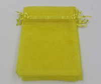 Wholesale Organza Pouches Gifts Bags - Hot ! Lemon Yellow 7x9cm 9X11cm 13X18cm Organza Jewelry Gift Pouch Bags For Wedding favors,beads,jewelry (ab651)