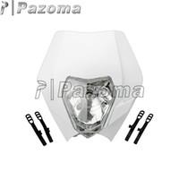 Wholesale Dual Motorcycle Headlight - PAZOMA MOTORCYCLE White Dirtbike Motocross OFF ROAD Universal Headlights ENDURO ROAD LEGAL RMZ RM KX SX KTM Dual sport motorcycles