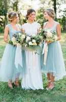 Vintage Mint Green High Low Country Bridesmaid Dresses 2018 Modest Square Neck Garden Wedding Party Guest Junior Bridesmaid Dress