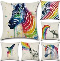 almofadas de impressão de zebra venda por atacado-Rainbow Animal Impresso Fronha 45 * 45 cm Zebra Unicórnio Elefante Lobo Pássaro Panda Linen Fronha Throw Capa de Almofada OOA3406