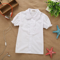 Wholesale Korean Fashion Wear For Summer - Wholesale-Hot Sale! 2015 summer new Korean children's wear fashion shirt for girls pure white short-sleeved school girl blouse