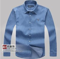 Wholesale Denim Shirt Mens - Wholesale-Hot -2015 mens casual denim polos male camisa masculina shirts solid color men jean shirt brand cotton camisa masculina