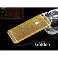 glitter apple sticker toptan satış-Toptan Satış - Toptan-Lüks Bling Tüm Vücut Çıkartması Glitter Geri Film Sticker Kılıfı iphone 6 4.7 Ücretsiz kargo