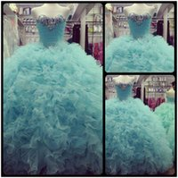 Wholesale Sexy Orange Colored Dresses - 2016 Real Photos Aqua Colored Quinceanera Dresses 2015 Vestido de 15 anos Crystals Tulle Lace-up Prom Ball Gowns Sweet 16 Dress