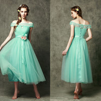 Wholesale Girl S Occasion Dress - Bateau bridesmaid dresses custom made Bateau Hand Made Flower Tea length Youthful Charming girls special occasion dresses 5378