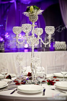Wholesale Wholesale Silver Plated Candlesticks - Hot sales 5 Arms Silver Metal wedding Candelabras centerpiece with Crystal globe