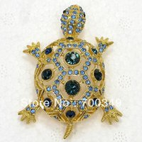 En gros 12piece / lot Bleu Cristal Strass Turtle Broches Mode Costume Broche Broche bijoux cadeau C2026 L
