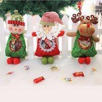 Wholesale Cloth Goody Bags - 2015 Xmas Candy Bag Santa Snowman Moose Cute Santa Claus Design Christmas Gift Present Goody Sugar Bags Indoor Decoration New