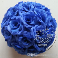 5pcs Blue Artificial Silk Flower Kissing Balls Hanging rose Balls Christmas Ornaments Décorations de mariage Party boules de bouquet de roses