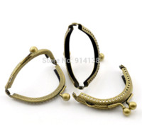 Wholesale Antique Bead Purse - Free Shipping 5PCs Antique Bronze Bead Purse Bag Metal Arch Frame Kiss Clasp Lock 6.5x5.5cm B01468
