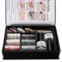 Professionelle Nagel-Kunst-Folien übertragen Glitter DIY Design Tips Kleber Top Coat Kleber Set Kit DIY